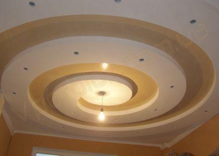 фото потолок из гипсокартона спираль них решётка